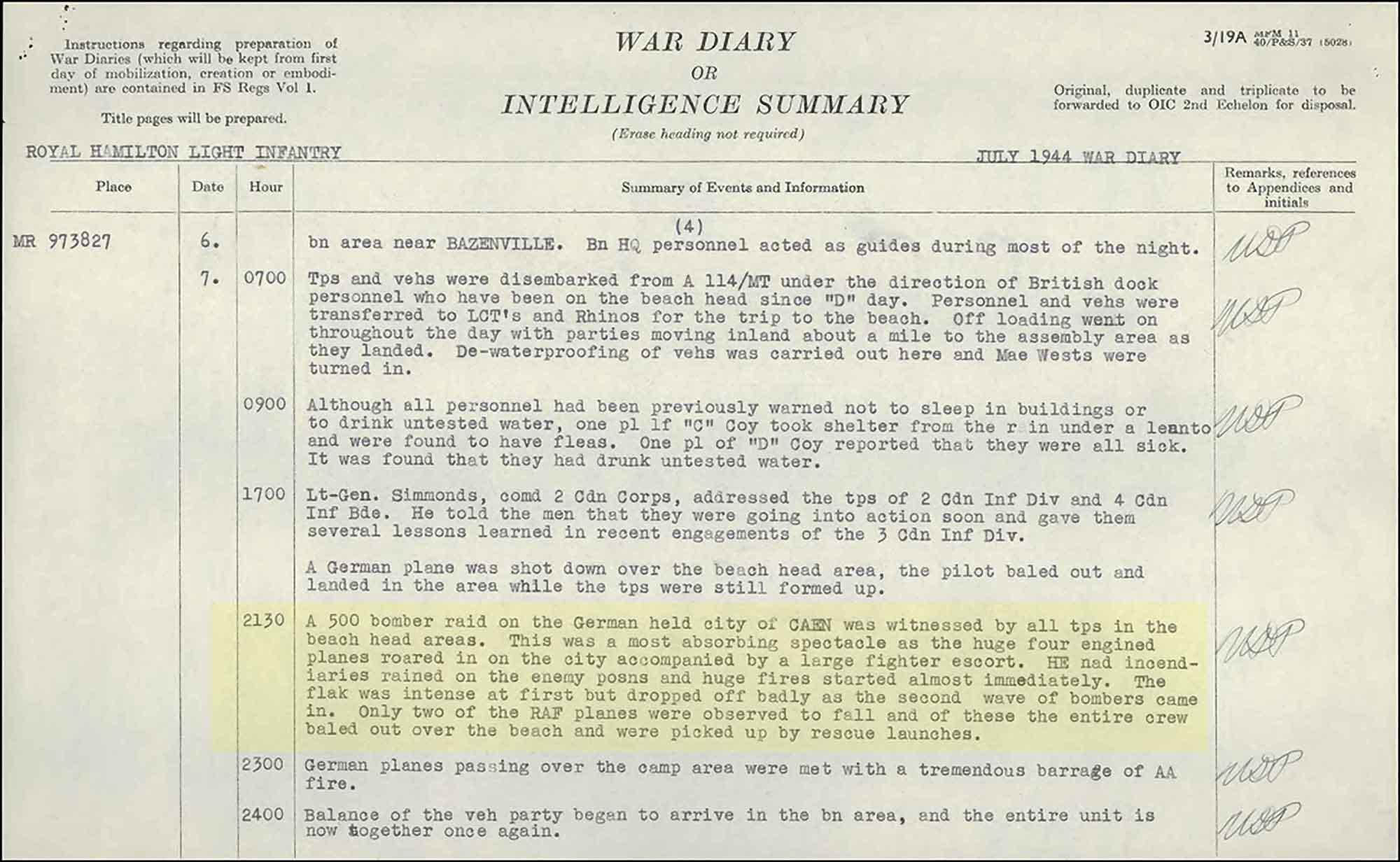 War Diaries - Royal Hamilton Light Infantry